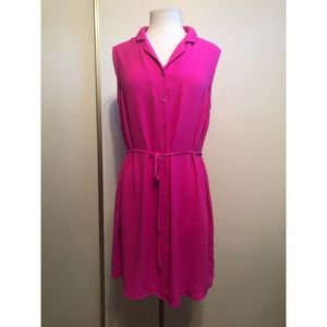 Fuchsia button up sleeveless dress